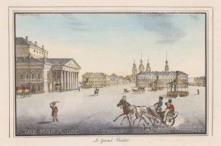 "Alexandriev: Imperial Bolshoi Kamenny Theatre, St Petersburg. 1828. A hand coloured original antique lithograph. 16"" x 12"". [RUSp711]"