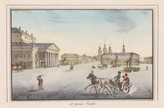 "Alexandriev: Imperial Bolshoi Kamenny Theatre, St Petersburg. 1828. A hand coloured original antique lithograph. 16"" x 12"". [RUSp711]"
