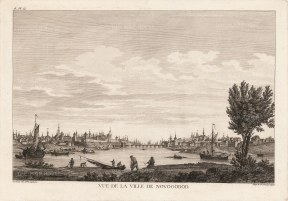 Novogorod: Panoramic view of the city from the centre of the Volkhov River.After Mikhail Makhaev.