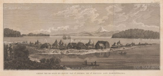 Kamchatka: Petropavlossk. View of the settlement, named by Vitus Bering after his ships St Peter and St Paul, with the Resolution and Discovery at anchor. After John Webber, artist on the Third Voyage.