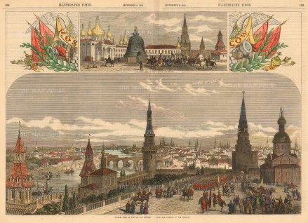 "Illustrated London News: Moscow.1856. A hand coloured original antique wood engraving. 20 x 14"". [RUSp742]"