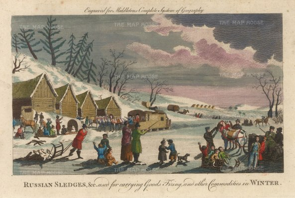 "Middleton: Sledges. 1778. A hand coloured original antique copper engraving. 9"" x 7"". [RUSp759]"