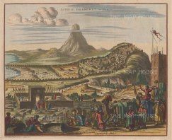 "Van der Aa: Derbent, Dajistan. c1715. A hand coloured original antique copper engraving. 14"" x 12"". [RUSp773]"