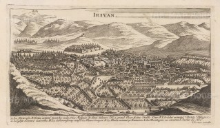 RARE Armenia: Erevan (Irivan): Bird's eye view with key of the capital before the earthquake of 1679.