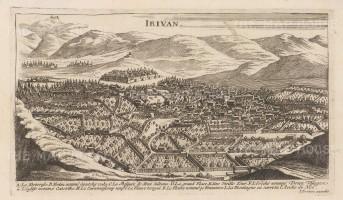 RARE Armenia: Erevan (Irivan): Bird's eye view with key of the capital before the earthquake of 1679.