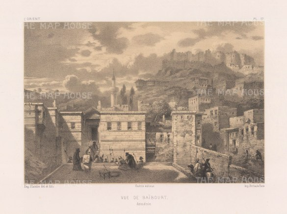 "Flandin: Bayburt, Armenia. 1842. An original antique lithograph. 11"" x 7"". [RUSp779]"