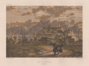 "Flandin: Karin, (Erzroum), Armenia. 1842. A hand coloured original antique lithograph. 11"" x 7"". [RUSp780]"
