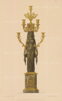 Bronze Caryatid Ormolu and Marble Candelabra.