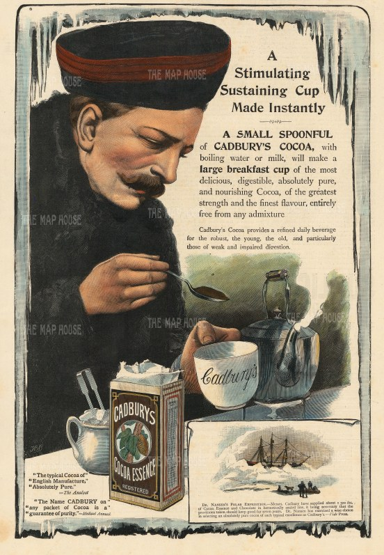 Cadbury's Cocoa Essence: Dr Nansen with inset showing the Norwegian explorer's ship 'Fram'. Cadbury supplied 1,500 lbs of Cocoa to the Polar expedition.