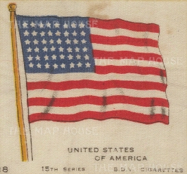 "BDV Cigarettes: Flag of the United States of America. c1900. Original printed colour on silk. 3"" x 2"". [ARMp126]"