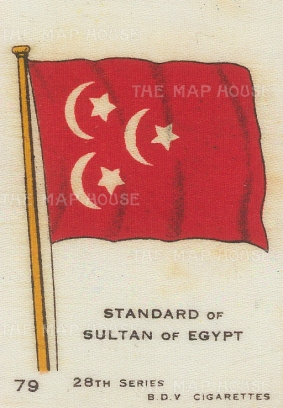 "BDV Cigarettes: Egypt, Standard of the Sultan. c1900. Original printed colour on silk. 2"" x 3"". [ARMp33]"