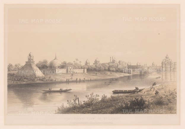 Lucknow: Panoramic view over the Gomti towards the Qaisar Bagh Palace complex built by the last Nawab of Awadh, Wajid Ali Shah.