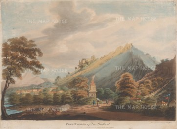 Madhya Pradesh (Bundelcund}: View of a Hill fort and shrine.