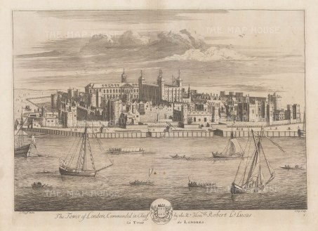 Tower of London: Panorama from across the Thames with the arms of the Constable of the Tower, Sir Robert Lucas.
