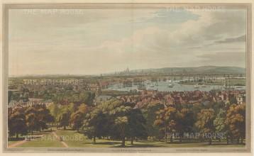 "Boydell: Panorama from Greenwich Hill. 1796. An original colour antique aquatint. 13"" x 9"". LDNp10688]"