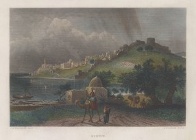 "Virtue: Sayda. 1838. A hand coloured original antique steel engraving. 8"" x 5"". [MEASTp1665]"