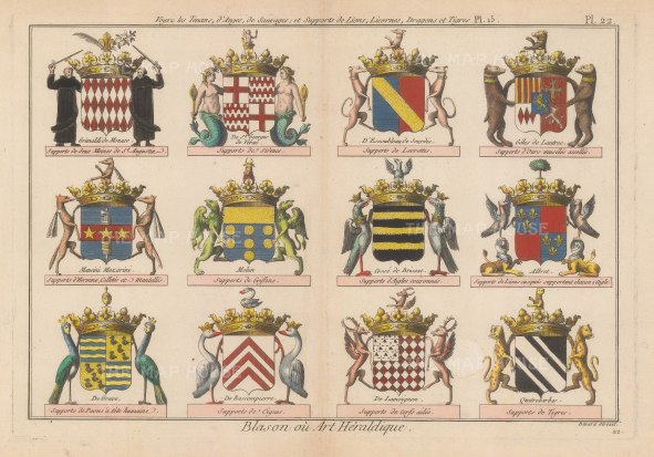 Heraldry: Twelve coats of Arms inc the Grimaldi of Monaco, to example different armorial supports.