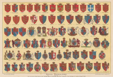 Heraldry: Armorial Bearings of Sovereigns of England and their consorts from William I to Edward VII.