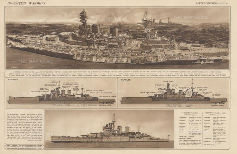 British Warships: Battle-Cruisers. Cross-section of HMS Repulse with diagrams of HMS Reknown and HMS Repluse. With text.