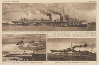 British Warships: Destroyers. Cross-section of interior, Tribal class at exercise and HMS Lightening. With text.