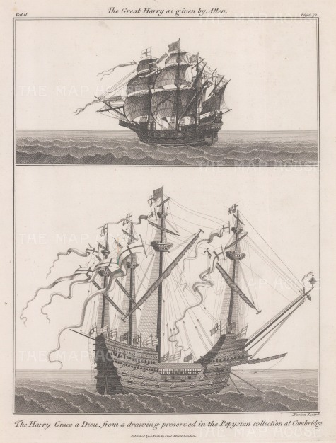 Harry Grace a Dieu or Great Harry: Two views of the flagship of Henry VIII from a depiction in the Anthony Roll, a tudor naval record at the Pepys Library.