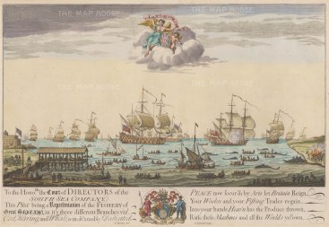 "Baston: South Sea Company. c1720. A hand coloured original antique copper engraving. 14"" x 10"". [NAVp97]"
