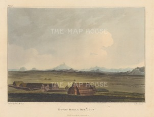 "Mackenzie: Mount Hekla from Odde, Iceland. 1811. An original colour antique aquatint. 7"" x 5"". [SCANp364]"