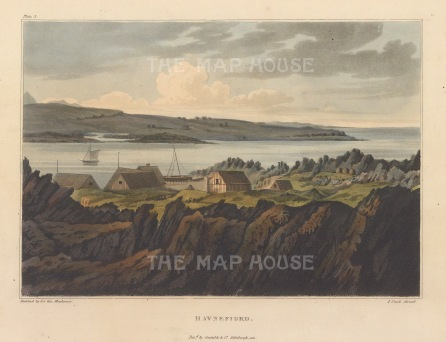 "Mackenzie: Havnefiord, Iceland. 1811. An original colour antique aquatint. 7"" x 5"". [SCANp365]"