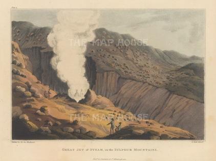 """Mackenzie: Sulfur Mountains, Iceland. 1811. An original colour antique aquatint. 7"""" x 5"""". [SCANp3647]"""