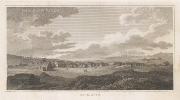 Reykjavik: Rare panoramic view sketched by Sir George Mackenzie on his geological expedition to Iceland with explorer Henry Holland and physician Richard Bright.