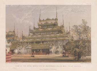Amarapura: View of the Royal Monastary, later moved to Mandalay and called Shwenandaw.