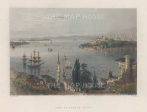 Constantinople: Seraglio Point (Sarayburnu). Panoramic view over the Bosphorus.