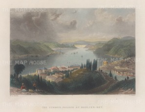 Constantinople: Beglier Bey (Governor's) Summer Palace: Panoramic view over the Bosphorus.