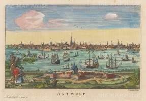 "Salmon: Antwerp. 1759. A hand-coloured original antique copper engraving. 10"" x 6"". [BELp270]"
