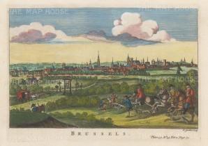 "Salmon: Brussels. 1759. A hand-coloured original antique copper engraving. 10"" x 6"". [BELp271]"