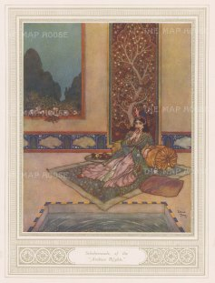 "Illustrated London News: Shcheherazade. 1912. An original antique chromolithograph. 8"" x 10"". [DECp2114]"