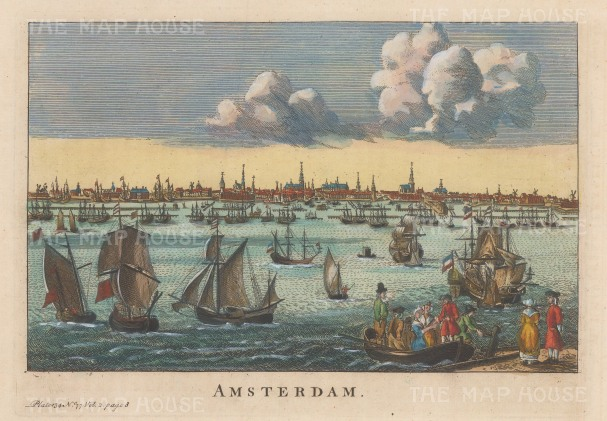 "Salmon: Amsterdam. 1759. A hand-coloured original antique copper engraving. 10"" x 6"". [NETHp206]"