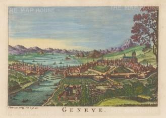 "Salmon: Geneva. 1759. A hand coloured original antique copper engraving. 10"" x 6"". [SWIp791]"