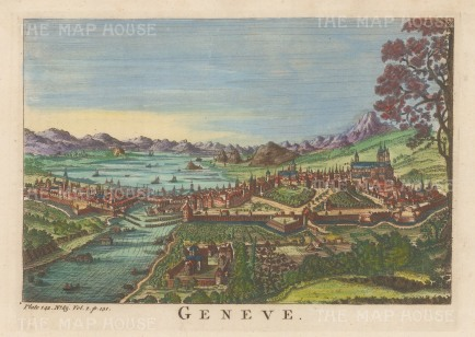 "Salmon: Geneva. 1759. A hand coloured original antique copper engraving. 10"" x 6"". [SWIp791]"