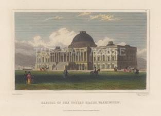 "Meyer: Capitol, Washington D.C. 1837. A hand-coloured original antique steel engraving. 6"" x 4"". [USAp4942]"