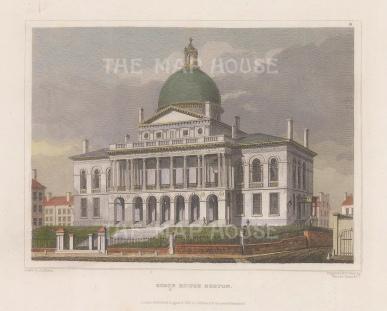 "Meyer: Boston, Massachusetts. 1837. A hand-coloured original antique steel engraving. 6"" x 4"". [USAp4946]"