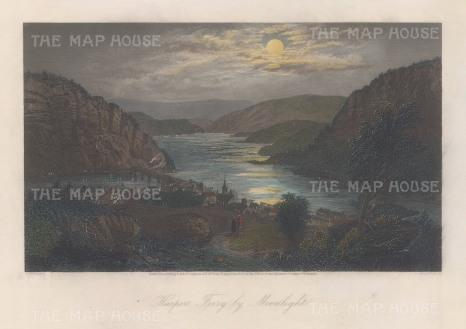 "Picturesque America: Harper;s Ferry, Virginia. 1872. A hand-coloured original antique steel engraving. 9"" x 6"". [USAp4952]"