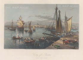 "Picturesque America: Boston, Massachusetts. 1872. A hand-coloured original antique steel engraving. 9"" x 6"". [USAp4953]"