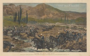 Battle of Kabul: Chardeh Valley: British Cavalry charging the Afghans in order to cover the retreat of the artillery. Second Anglo-Afghan War.
