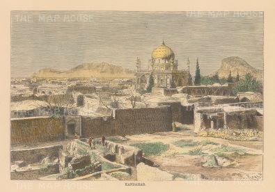 """Reclus: Kandahar. 1894. A hand coloured original antique wood engraving. 7"""" x 5"""". [AFGp134]"""