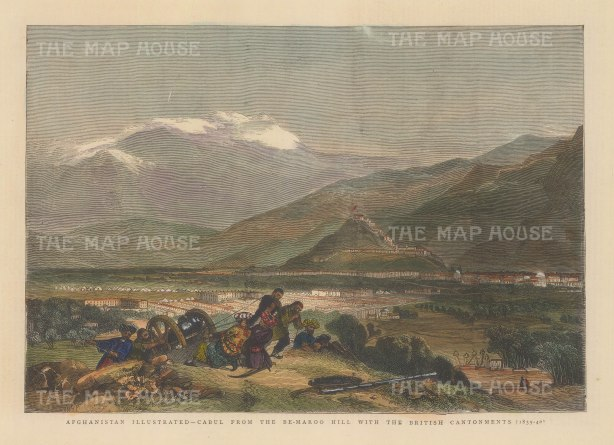 "The Graphic Magazine: Kabul. 1878. A hand coloured original antique wood engraving. 12"" x 9"". [AFGp92]"