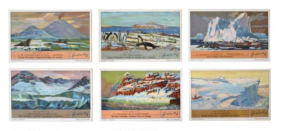 Franklin Expedition 1845-6: Six cards. Elephant seals Cockburn Island, Weddell Sea, Cape Crozier, Cape Renard and Duivel's glacier. Framed