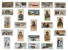 Polar Exploration: 25 cigarette cards of significant events and Antarctic scenes. With Captain Scott at centre. Framed.
