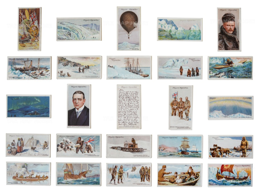 Polar Exploration: 25 cigarette cards of significant events and Antarctic scenes. With Ernest Shackleton at centre. Framed.