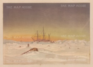 View of the ship at sunset. From the Expedition of H.M.S.Alert 1875/77: